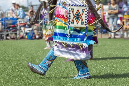 Close up image of the colorfully booted feet of native Americans during the Julyamsh Powwow in Coeur dAlene, Idaho.