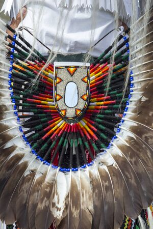 Close up of headdress shown at the Julyamsh Powwow in Coeur dAlene, Idaho. Stock Photo
