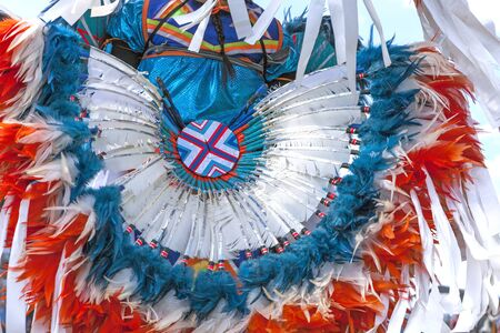 Bright colorful headdress shown at the Julyamsh Powwow in Coeur dAlene, Idaho. Фото со стока