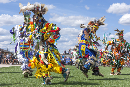 Coeur dAlene, Idaho USA - 07-23-2016. Stepping out at the powwow.  Young dancers participate in the Julyamsh Powwow on July 23, 2016 at the Kootenai County Fairgrounds in Coeur dAlene, Idaho. Editorial