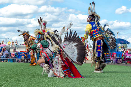 Coeur dAlene, Idaho USA - 07-23-2016. Dancers at a Native American powwow. Young dancers participate in the Julyamsh Powwow on July 23, 2016 at the Kootenai County Fairgrounds in Coeur dAlene, Idaho.