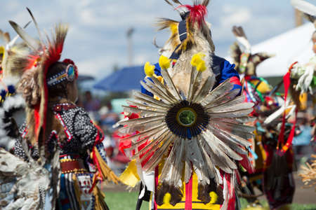 Coeur dAlene, Idaho USA - 07-23-2016. Dance competition at the Powwow. Young dancers participate in the Julyamsh Powwow on July 23, 2016 at the Kootenai County Fairgrounds in Coeur dAlene, Idaho.
