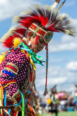 Coeur dAlene, Idaho USA - 07-23-2016. Young male dancer. Young dancer participates in the Julyamsh Powwow on July 23, 2016 at the Kootenai County Fairgrounds in Coeur dAlene, Idaho.
