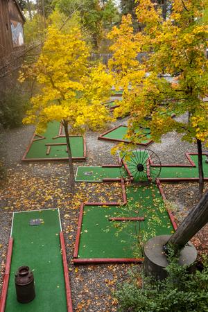 putt: An outdoor putt putt course in Winthrop, Washington. Stock Photo