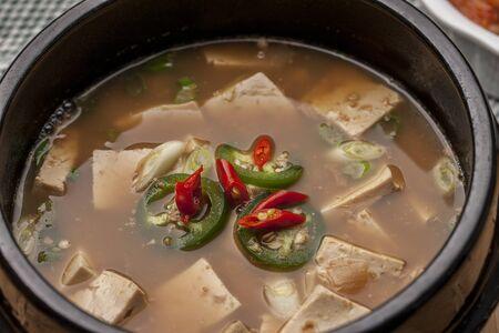 Macro image of Denjang soup.