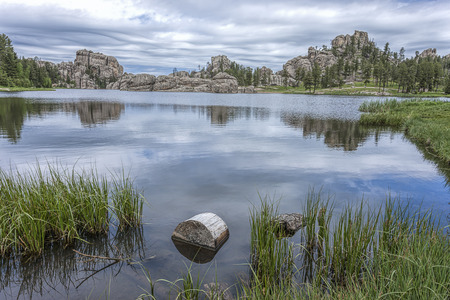 Log in the foreground of the famous Sylvan Lake near Custer, South Dakota.
