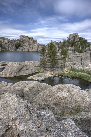 On the boulders of Sylvan Lake near Custer, South Dakota. Stock Photo