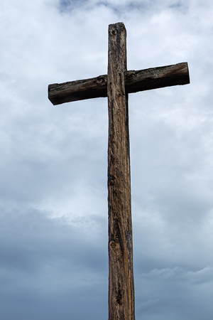 The old wooden cross at the Jamestown settlement in Virginia.