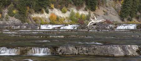A panorama of the Kootenai River near Libby, Montana.