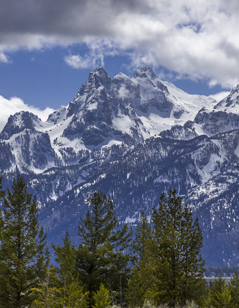 The peaks of the Grand Tetons as seen from Snake River Overlook near Moran, Wyoming.