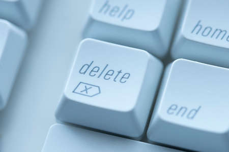 A conceptual close up photo of the delete key on a keyboard.