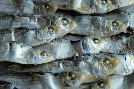 An overhead close up photo of dried sardines laid in a neat pile.