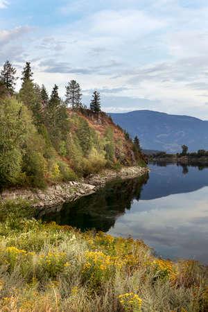 The calm Kootenay River near Bonners Ferry Idaho. Stok Fotoğraf