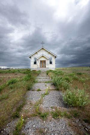 A landscape photo of an old church near Charlo, Montana. Stock fotó