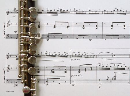 flute key: Piccolo on Sheet Music Background