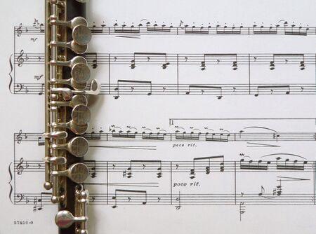 flute key: Piccolo on Sheet Music Background
