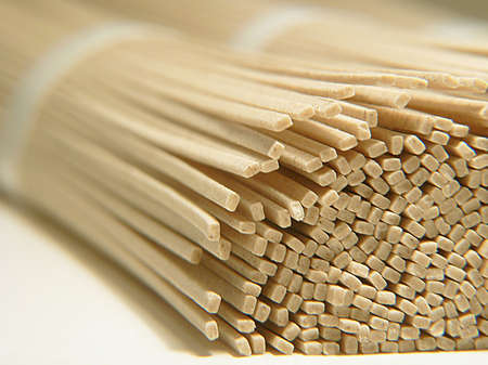 soba noodles: Japanese Soba Noodles, diagonal macro, foreground focus