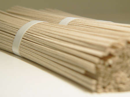 soba noodles: Japanese Soba Noodles, diagonal, focus on band Stock Photo