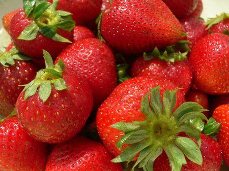 Fresh Strawberries, close crop photo