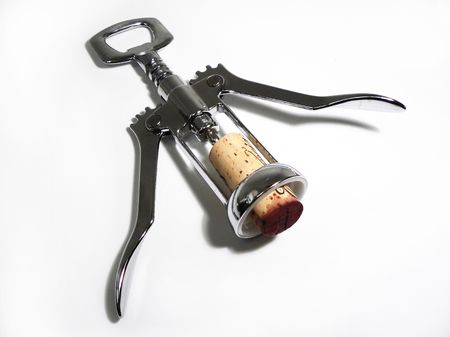bottle cap opener: Corkscrew with cork