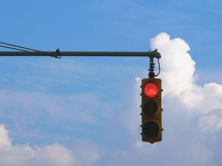 red traffic light: Red Traffic Light and Clouds