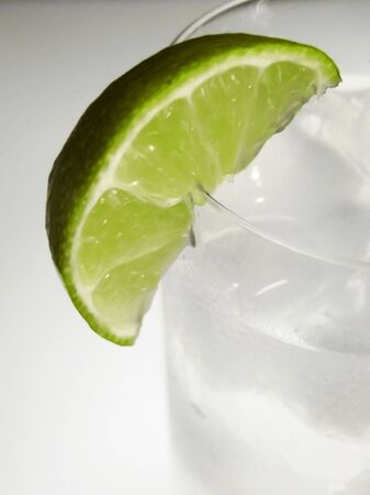 chilled: lime wedge on chilled gin and tonic