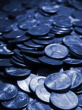 pile of pennies toned in blue
