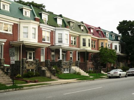 townhomes, typical of Baltimore, Maryland, USA 版權商用圖片 - 219858