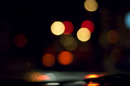 night vision: blurry vision while driving at night Stock Photo