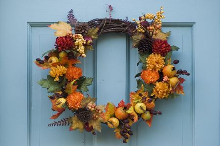 realty residence: Thanksgiving wreath hanging on residential door
