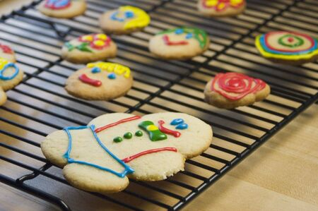 cooky: Decorated Sugar Cookies on Cooling Rack Stock Photo