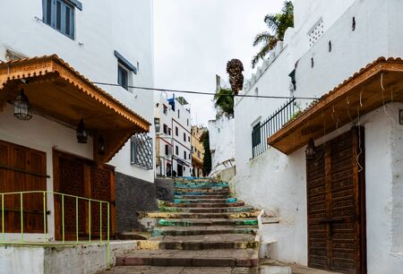 Colorful stairway in the souk of Tangier, Morocco