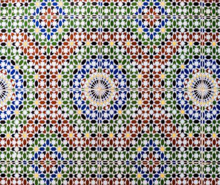 Tiles simulating tradional wall decoration in Morocco Archivio Fotografico