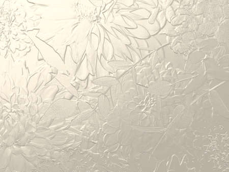 Silver metallic background with dahlia relief