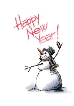 felicitation: snowman writes a felicitation.