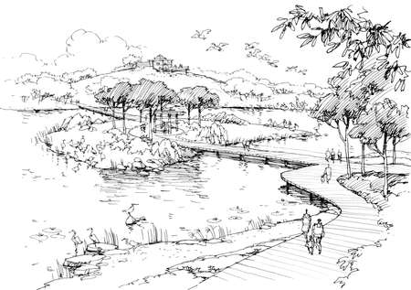 Lake in the park-line drawing Stock Photo