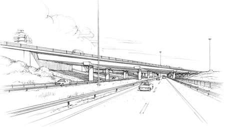Ponte obliquo in autostrada. Archivio Fotografico