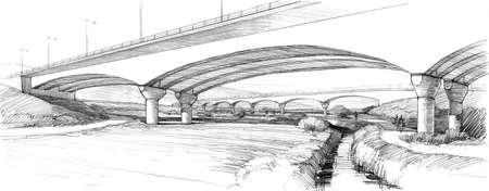 arch bridge over the brook . Stock Photo