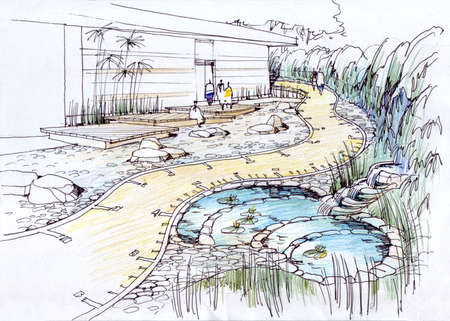 family park: walkway in the garden - architectural drawing.