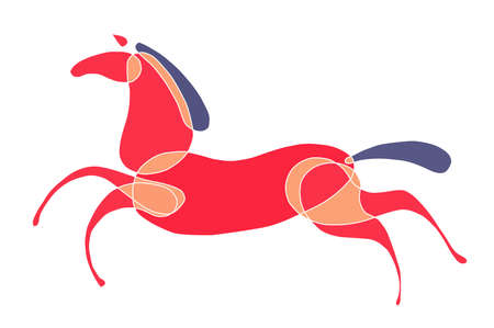 symbol grafic -colored horse runs. Stock Photo