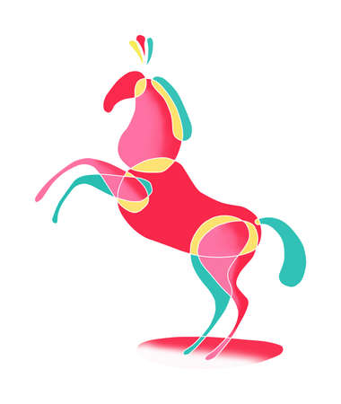 symbol grafic - colored horse stands Stock Photo