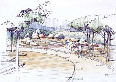 architectural drawing: architectural drawing rock garden -1.