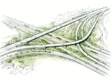 transport node - architectural drawing - 2. Stock Photo