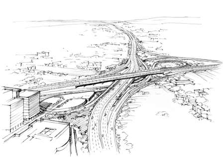 highway tunnels: architectural drawing transport node -2.