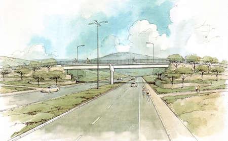 bicycle bridge over the road . Stock Photo