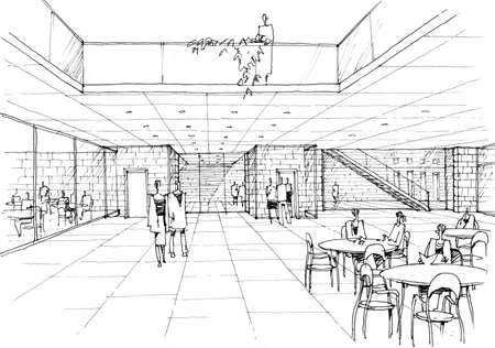 cafe interior - architectural drawing - 1