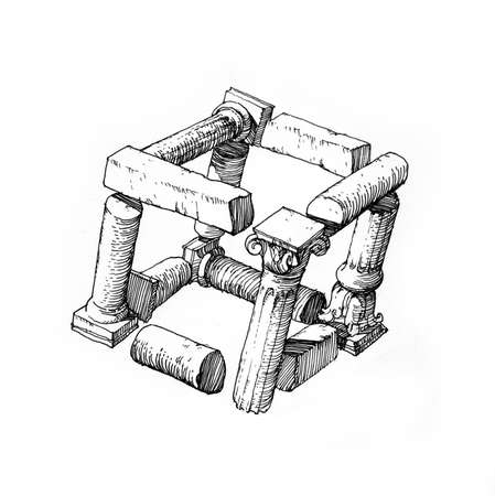 solids: cube of architectural details - 2 .
