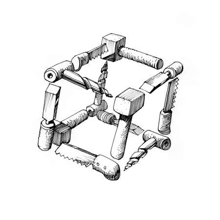 solids: cube of tools - 3 - architectural drawing Stock Photo