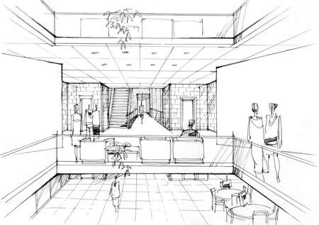 office interior - architectural drawing - 4 .