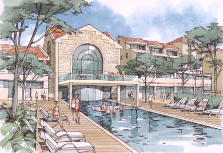 swimming pool - architectural drawing - 6 . Stock Photo